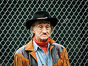 Color street portrait old man dressed in cowboy attire. NYC 2008