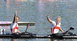 MARTIN HOLLSTEIN & ANDREAS IHLE (BOTH GERMANY) CELEBRATE THEIR GOLD MEDALS IN MEN'S K2 1000 METERS FINAL A RACE DURING 2010 ICF KAYAK SPRINT WORLD CHAMPIONSHIPS ON MALTA LAKE IN POZNAN, POLAND...POLAND , POZNAN , AUGUST 21, 2010..( PHOTO BY ADAM NURKIEWICZ / MEDIASPORT ).