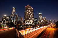 Downtown Los Angeles Skyline and 110 Harbor Freeway, California
