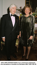 MR & MRS STEPHEN RUBIN, he is chairman of Speedo, at a reception in London on October 28th 1996.LTA 42