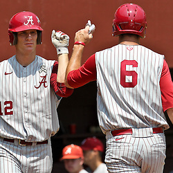 June 03, 2011; Tallahassee, FL, USA;  Alabama Crimson Tide designated hitter Josh Rosecrans celebrates with Brandt Hendricks (12) after scoring a run in the second inning against the UCF Knights during the 2011 Tallahassee Regional at Dick Howser Stadium. Alabama defeated UCF 5-3. Mandatory Credit: Derick E. Hingle