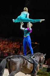 Cassidy Palmer, Kimberly Palmer, (USA), Leon 364, Wolfgang Renz - Pas de Deux Vaulting - Alltech FEI World Equestrian Games™ 2014 - Normandy, France.<br /> © Hippo Foto Team - Jon Stroud<br /> 04/09/2014