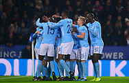 Bernardo Silva of Manchester City celebrates with teammates after he scores his teams 1st goal to make it 0-1.Carabao Cup quarter final match, Leicester City v Manchester City at the King Power Stadium in Leicester, Leicestershire on Tuesday 19th December 2017.<br /> pic by Bradley Collyer, Andrew Orchard sports photography.