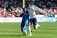 Paolo Gozzi Iweru of Italy (6) makes a fine sliding tackle on Rayhaan Tulloch of England (16) during the UEFA European Under 17 Championship 2018 match between England and Italy at the Banks's Stadium, Walsall, England on 7 May 2018. Picture by Mick Haynes.