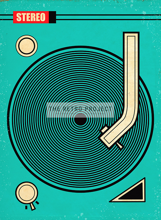 Mid Century Record Deck Stereo Audio Sound System Illustration aged and distressed in green