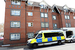 Portsmouth,Hampshire. Richmond Road Southsea,Hampshire Saturday 20th May 2017 GV showing <br /> <br />  Police cordon off Southsea block of flats after 'bloodbath'<br /> <br /> <br /> <br /> <br /> Large pools of blood can been seen in the entrance lobby of the block of flats. One resident who asked not to be named said that a stabbing had taken place and the person involved was rushed to hospital. Blood has been spattered across the walls and floor of block of flats with police guarding the scene today.<br /> <br /> It comes after a resident told of being woken at 12.30am this morning in Keelan Court, Richmond Road, Southsea.<br /> <br /> <br /> <br /> <br /> Crime scene tape today blocked off access to the flats, where blood could be seen on the front door, the ground and the floor inside, next to the communal elevator.<br /> <br /> A resident, who asked not to be named, said: 'The police are not saying anything and there is blood everywhere.<br /> <br /> 'All over the floors and doors.<br /> <br /> 'I heard someone banging around and slamming doors and shouting about 12.30am and now we have woken to find our lovely building is a blood bath.'The block of flats is the building where body-in-the-bag killer David Hilder lived.<br /> <br /> In 2013 Hilder was convicted of the manslaughter of David Guy, whose body was dismembered.<br /> <br /> The resident added: 'There has been another brutal and bloody attack at Keelan Court last night.<br /> 'It's the same building where the body in the bag murderer lived. Tenants have woken this morning to blood all over the walls floors and doors.'<br /> <br /> <br /> <br /> <br /> Hampshire police have been approached for comment.©UKNIP