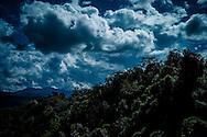 Dramatic sky over a forest in Mai Chau area, Hoa Binh Province, Vietnam, Southeast Asia