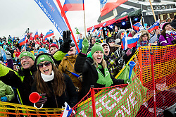 Supporters of Zan Kosir of Slovenia during the Men's Parallel Giant Slalom at FIS World Championships of Snowboard and Freestyle 2015, on January 23, 2015 at the WM Piste in Lachtal, Austria. Photo by Vid Ponikvar / Sportida