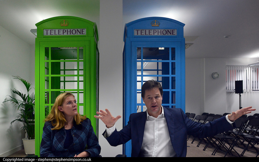 © Licensed to London News Pictures. 13/11/2012. London, UK Nick Clegg meets parents at the workspace. Deputy Prime Minister Nick Clegg visits the 'Third Door', in Putney today Putney today, 13 November 2012. An innovative centre combining a workspace for parents and childcare for their children, parents can drop off their children in the nursery, and hire a working space including desk, meeting room and facilities.  He announced new flexible parental leave for parents, mothers and fathers can now share the maternity leave allowance.. Photo credit : Stephen Simpson/LNP