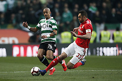 February 3, 2019 - Lisbon, Portugal - Bruno Gaspar of Sporting (L) vies for the ball with Jardel Vieira of Benfica (R)  during Primeira Liga 2018/19 match between Sporting CP vs Moreirense FC, in Lisbon, on February 3, 2019. (Credit Image: © Carlos Palma/NurPhoto via ZUMA Press)