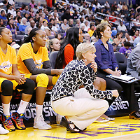 22 June 2014: Los Angeles Sparks head coach Carol Ross is seen next to Sandrine Gruda (7) of the Los Angeles Sparks during the San Antonio Stars 72-69 victory over the Los Angeles Sparks, at the Staples Center, Los Angeles, California, USA.