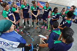 Coach Ed Pascoe gives a team talk to the KZN Inland team before their game against WP Peninsula during the interprovincial indoor hockey tournament held at the Bellville Velodrome, Cape Town, on the 13th October 2016. Photo by: John Tee/RealTime Images