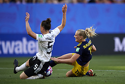 June 29, 2019 - Rennes, France - Stina Blackstenius (Linkopings FC) of Sweden and Marina Hegering (Sgs Essen) of Germany competes for the ball during the 2019 FIFA Women's World Cup France Quarter Final match between Germany and Sweden at Roazhon Park on June 29, 2019 in Rennes, France. (Credit Image: © Jose Breton/NurPhoto via ZUMA Press)
