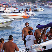 Partiers descend on Lake Havasu, Arizona for the Memorial Day weekend. The lake attracts thousands of boaters and partiers every year during major holidays. This is Bridgewater Channel.