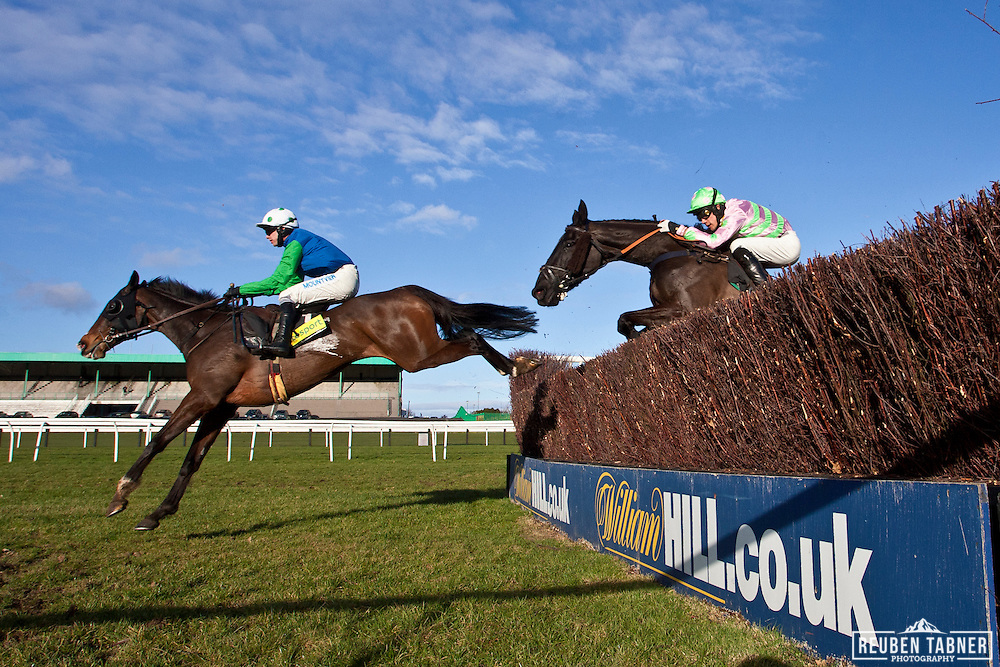 3:15pm Newcastle - Eider Chase...(Blue/Green) Comply Or Die, ridden by Timmy Murphy..Owner: Mr. D.A. Johnson..Trainer: David Pipe, Wellington...(Pink/Green) Minella Boys, ridden by Felix de Giles. .Owner: Miss Penny Zygmant..Trainer: Charlie Longsdon, Chipping Norton.