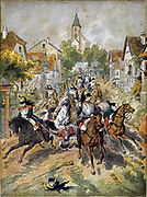 Franco-Prussian War 1870-1871: Battle of Reichshoffen also called Battle of Worth, 5 August 1870. French Cuirassiers gallping through Reichshoffen. Decisive Prussian victory.  Germany France Cavalry