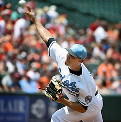 June 18, 2017 - Baltimore, MD, USA - Baltimore Orioles' Ubaldo Jimenez pitched seven innings and gave up two earned runs against the St. Louis Cardinals on Sunday, June 18, 2017 at Oriole Park at Camden Yards in Baltimore, Md. The Orioles defeated the Cardinals, 8-5. (Credit Image: © Kenneth K. Lam/TNS via ZUMA Wire)