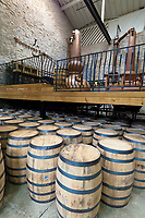 Oak barrels, Woodford Reserve Distillery (premium bourbon), Versailles (near Lexington), Kentucky USA
