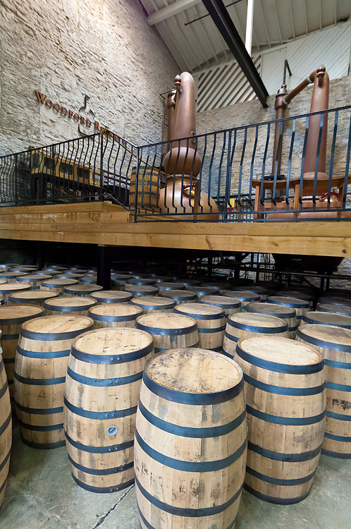 Oak barrels, Woodford Reserve Distillery (premium bourbon), Versailles (near Lexington), Kentucky USA