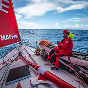 Leg 8 from Itajai to Newport, day 05 on board MAPFRE, Rob Greenhalgh at the bow. 26 April, 2018.