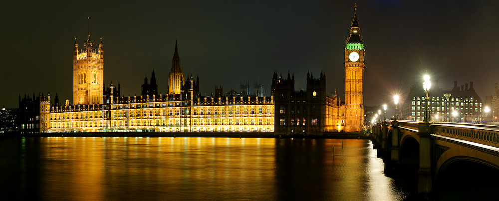 British Houses of Parliament, with Big Ben, at night, taken from Queens Way