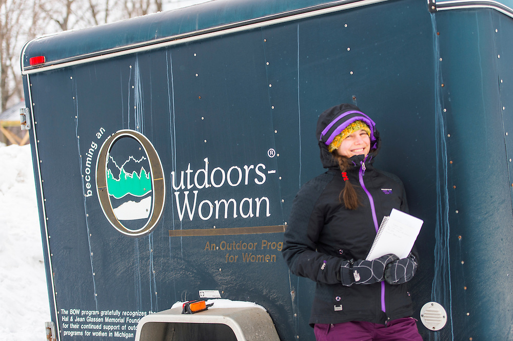 Writer Amanda Rogers while covering the Michigan DNR Becoming an Outdoors Woman program in Big Bay, Michigan.