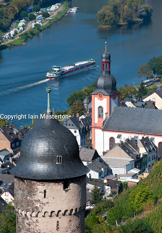 View of Zell village on River Mosel in Germany