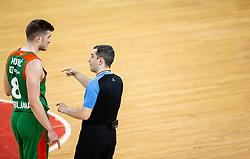 Edo Muric of Cedevita Olimpija and referee during basketball match between KK Cedevita Olimpija (SLO) and Buducnost Voli (MNE) in Top 16 Round 2 of 7DAYS Eurocup 2020/21, on January 19, 2021 in Arena Stozice, Ljubljana, Slovenia.  Photo by Vid Ponikvar / Sportida