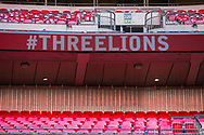 #ThreeLions signage inside the stadium ahead of the UEFA Nations League match between England and Croatia at Wembley Stadium, London, England on 18 November 2018.