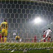 Galatasaray's scores during their Turkish superleague soccer match Kardemir Karabukspor between Galatasaray Dr. Necmettin Seyhoglu stadium in Karabuk Turkey on Saturday 08 November 2014. Photo by Kurtulus YILMAZ/TURKPIX