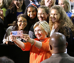 Democratic presidential nominee Hillary Clinton shoots a selfie with supporters after rallying at the Osceola Heritage Park Exhibition Hall on Monday, Aug. 8, 2016 in Kissimmee, Fla. Earlier in the day, Clinton campaigned in St. Petersburg, FL, USA. Photo by Joe Burbank/Orlando Sentinel/TNS/ABACAPRESS.COM