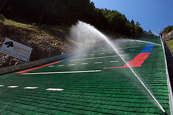 Water at hill at FIS Continental cup Ski-jumping Summer Kranj, on July 6, 2008, Kranj, Slovenia. (Photo by Vid Ponikvar / Sportal Images)<br /> <br /> / Sportida)