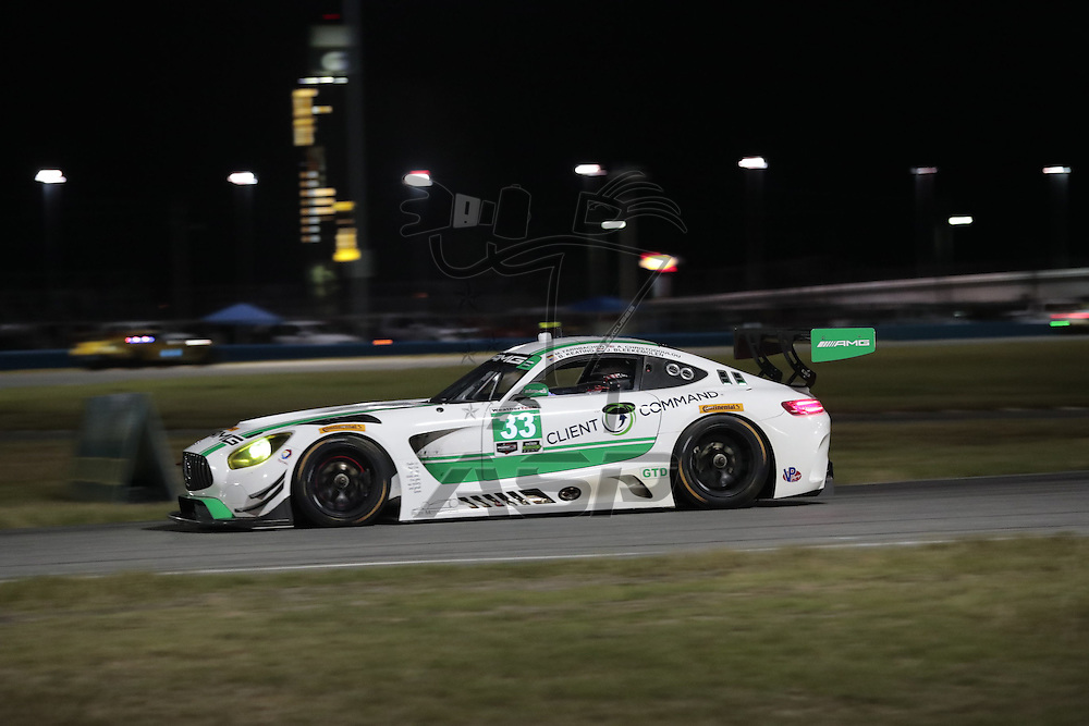 January 07, 2017 - Daytona Beach, Florida, USA:  The Riley Motorsport Mercedes AMG GT3 races through the turns at the Roar Before The Rolex 24 at Daytona International Speedway in Daytona Beach, Florida.