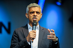 © Licensed to London News Pictures. 29/04/2017. London, UK. Sadiq Khan, Mayor of London, gives a speech.  Visitors enjoy the Sikh festival of Vaisakhi taking place in Trafalgar Square and hosted by the Mayor of London.  The festival celebrates the beginning of Sikhism, a collective faith which is practiced by more than 20 million people worldwide.   Photo credit : Stephen Chung/LNP