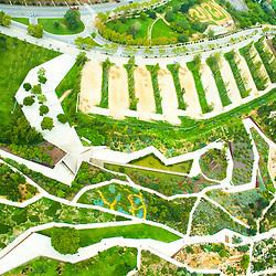 Aerial views of Jardí Botànic de  Barcelona Spain