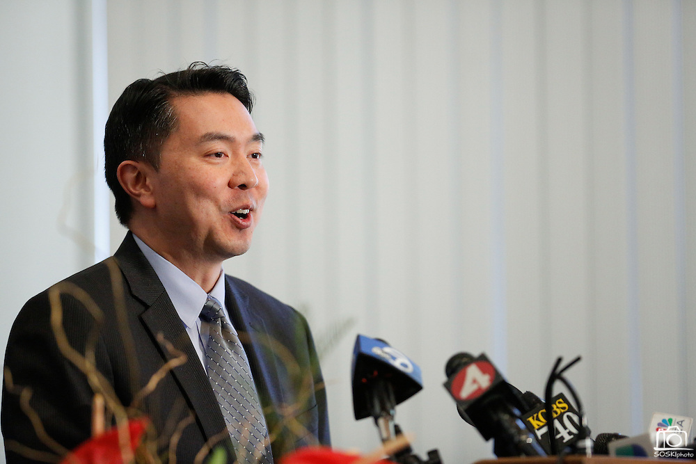 Lieutenant Henry Kwong of the Milpitas Police Department speaks during a press conference in regard to four arrests made in the murder of Mohammad Reza Sadeghzadeh, a 67-year-old Milpitas 7-Eleven night clerk who was murdered on September 8, 2012 during a 2:13 a.m. robbery, at the Milpitas Police Department in Milpitas, California, on December 12, 2013. (Stan Olszewski/SOSKIphoto)