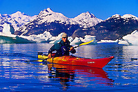 Sea kayaking in Columbia Bay, near Columbia Glacier (with Anadyr Adventures), Prince William Sound, near Valdez, Alaska USA