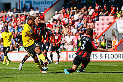 Gabriel Agbonlahor of Aston Villa shot is blocked by Steve Cook of AFC Bournemouth - Mandatory by-line: Jason Brown/JMP - Mobile 07966 386802 08/08/2015 - FOOTBALL - Bournemouth, Vitality Stadium - AFC Bournemouth v Aston Villa - Barclays Premier League - Season opener