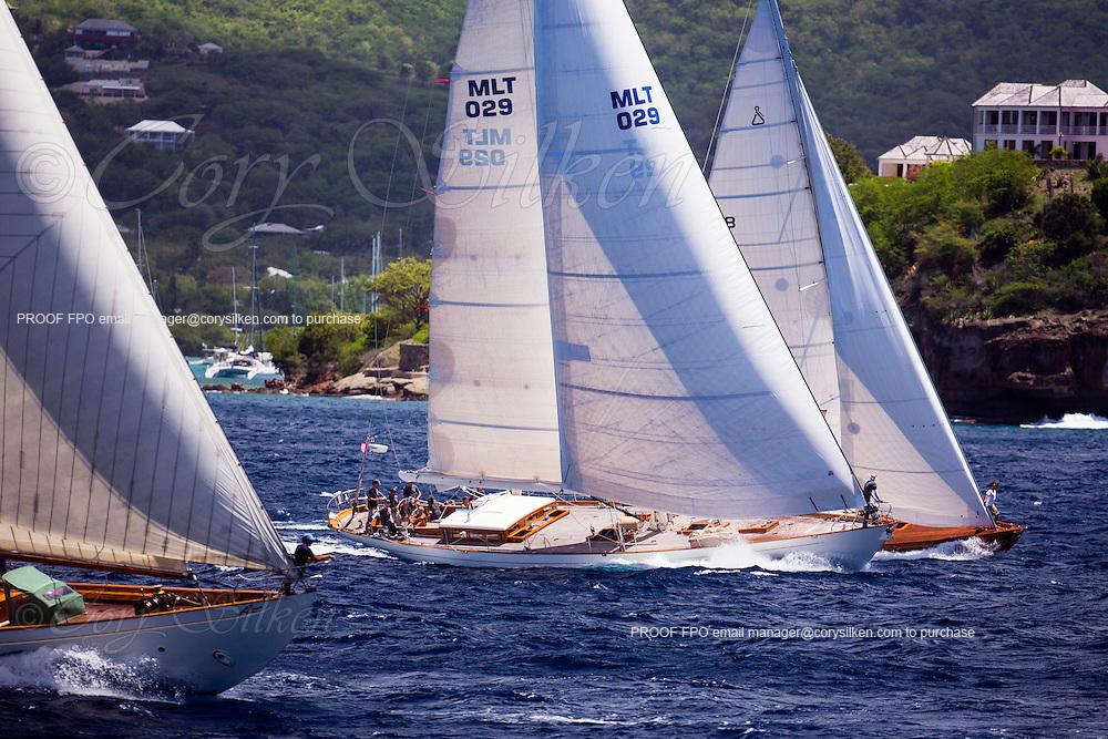Sumurun, Aurelius, Spirit of Rani sailing in the Antigua Classic Yacht Regatta, Windward Race.