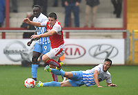 Fleetwood Town's Bobby Grant is tackled by Coventry City's James Sterry<br /> <br /> Photographer Dave Howarth/CameraSport<br /> <br /> The EFL Sky Bet League One - Fleetwood Town v Coventry Town - Saturday 3 September 2016 - Highbury Stadium - Fleetwood<br /> <br /> World Copyright © 2016 CameraSport. All rights reserved. 43 Linden Ave. Countesthorpe. Leicester. England. LE8 5PG - Tel: +44 (0) 116 277 4147 - admin@camerasport.com - www.camerasport.com