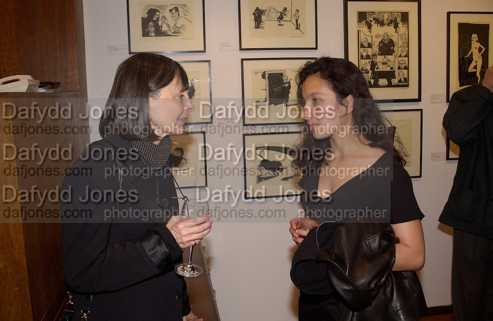 Ines Sodre and Nathalie Malinarich, Nicholas Garland prints and drawings, Fine Art Society. 13 May 2003. © Copyright Photograph by Dafydd Jones 66 Stockwell Park Rd. London SW9 0DA Tel 020 7733 0108 www.dafjones.com