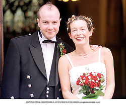 Singer Kate Rusby with Husband  John McCusker outside the local Church  in Cawthorn Barnsley where the couple were married on Saturday Afternoon (11/8/01)