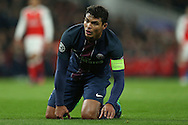 Thiago Silva of Paris Saint-Germain slumps on his knees. UEFA Champions league group A match, Arsenal v Paris Saint Germain at the Emirates Stadium in London on Wednesday 23rd November 2016.<br /> pic by John Patrick Fletcher, Andrew Orchard sports photography.