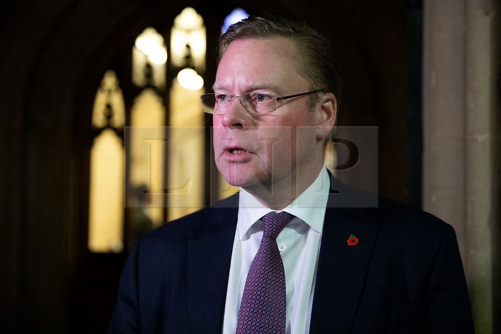 © Licensed to London News Pictures. 31/10/2018. London, UK. Iain Conn, Chief Executive Officer of Centrica Plc, speaks to the media after a briefing for business leaders by Prime Minister Theresa May and The Chancellor of The Exchequer Philip Hammond about the budget and Brexit. Photo credit: Rob Pinney/LNP