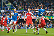 Portsmouth Forward, Jamal Lowe (18) scores a headed goal to make it 2-1 during the EFL Sky Bet League 1 match between Portsmouth and Fleetwood Town at Fratton Park, Portsmouth, England on 16 September 2017. Photo by Adam Rivers.