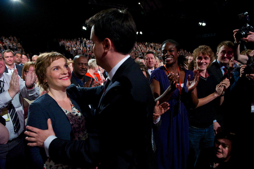 Ed Miliband embraces his partner Justine Thornton subsequent to the leader's speech to delgates during the Labour Party Conference in Manchester on 28 September 2010.