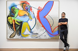 """© Licensed to London News Pictures. 04/09/2018. LONDON, UK. German artist Daniel Richter poses next to """"Sick music"""", 2018, at a preview of his exhibition called """"I Should Have Known Better"""" at Galerie Thaddaeus Ropac in Mayfair.  The exhibition runs 5 to 28 September 2018.  Photo credit: Stephen Chung/LNP"""