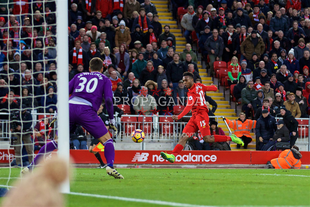 LIVERPOOL, ENGLAND - Sunday, November 6, 2016: Liverpool's Daniel Sturridge in action against Watford during the FA Premier League match at Anfield. (Pic by David Rawcliffe/Propaganda)