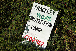 A sign is displayed at the entrance to Crackley Woods Protection Camp on 24th August 2020 in Kenilworth, United Kingdom. Anti-HS2 activists continue to protest against and attempt to prevent or delay works in connection with the controversial HS2 high-speed rail link from a series of camps along the Phase One route from Euston to north of Birmingham.