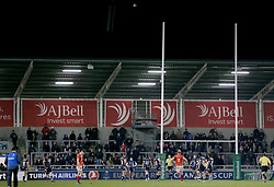 Saracens Owen Farrell misses his second penalty kick during the European Champions Cup, pool three mach at the AJ Bell Stadium, Salford.